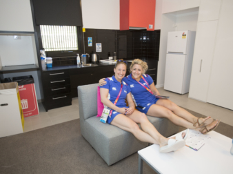 Weightlifters Lisa Tobias and Jodey Hughes in Apartment